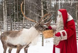 santa claus feeding reindeer in santa claus village in rovaniemi