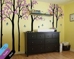Purple Nursery Wall Decor Butterfly Tree Baby Wall Decals Large Tree Forest Wall Stickers