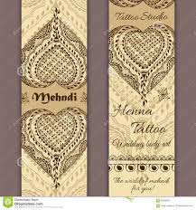 vector set of banners or cards in indian ornamental style mehndi
