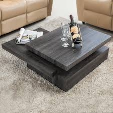 amazon com virrea oak square rotating wood coffee table with 3