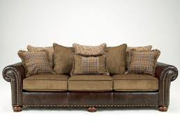 Leather And Upholstered Sofa Leather And Fabric Leather Or Fabric Sofa For Family Room
