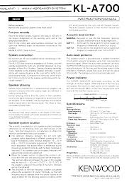 kenwood kl a700 owner u0027s manual immediate download