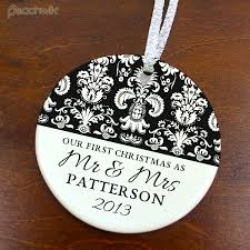 personalized wedding ornament personalized our christmas married damask wedding ceramic
