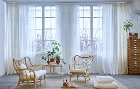 In The White Room With Black Curtains Three Layers Of White Ikea