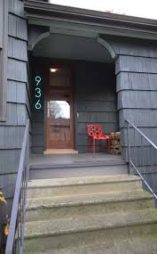 house porch at night exterior design illuminated address numbers visible at night and