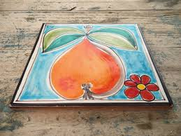 Pear Home Decor Midcentury 8x8 Cannara Italy Ceramic Tile Trivet Pop Art Pottery