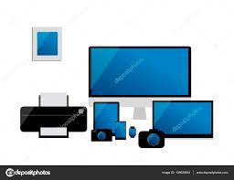 ensemble ordinateur de bureau ensemble de dispositifs électroniques vecteur d ordinateur de bureau