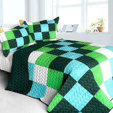 Minecraft Bedding For Kids Minecraft River Teen Boy Bedding Full Queen Quilt Set Blue Green