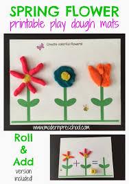 free printable shape playdough mats spring flower play dough mat activity