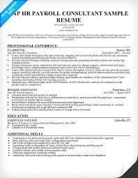 consultant sample resume sap hr payroll consultant resume sample
