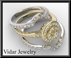 white gold engagement ring with yellow gold wedding band two tone gold halo diamond wedding ring set bridal rings vidar