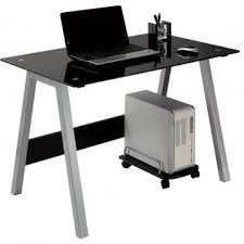 bureau pour ordinateur design informatique design en verre avec pied en métal
