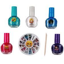 6pc emoji nail art kit girls manicure gift set nail gems