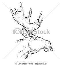 vector of hand drawn graphic moose vintage line deer label retro