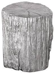 faux bois side table elegant silver tree stump accent table pedestal round faux bois