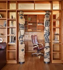 unique office with wooden shelves and ornaments unique