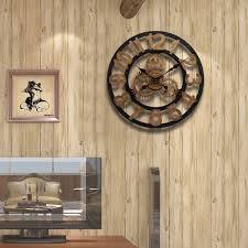45cm vintage european wheel gear wall clocks retro decorative