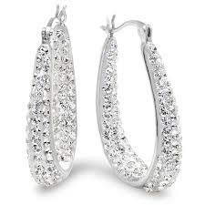 earring hoops sterling silver hoop earrings made with swarovski