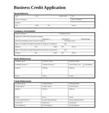 credit application for business to business template sample
