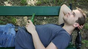 Park Bench Scene Young Teen Boy Drink Beer Bottle Sad Man Sleep Alcohol Abuse