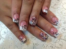 acrylic 26 cute acrylic nail designs french black lines