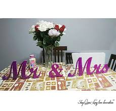 mr mrs sign for wedding table mr mrs purple letters wedding table decoration freestanding mr