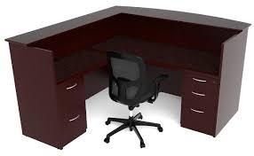 Front Reception Desk Emerald U0027l U0027 Shaped Reception Desk Bow Front Cherryman