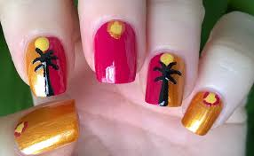 life world women palm tree nail art summer nail designs