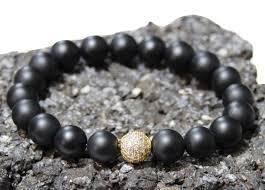 mens black beaded bracelet images Lance gold quot 10mm matte black onyx gold pave cz mens beaded jpg