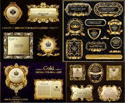 Gold decorative frames vector