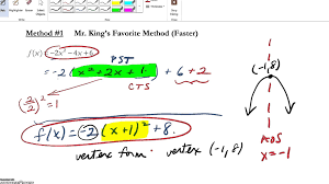 using completing the square to put a quadratic function into vertex form