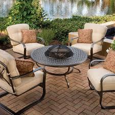 Agio Patio Chairs by Agio 5 Piece Heritage Deep Seating Fire Pit Set U2013 Kuebler U0027s Furniture