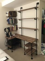 Diy Pallet Computer Desk Picture Charming Retro Home Office by Industrial Pipe And Walnut L Shaped Desk With Shelves Pallet