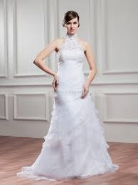 sheer high neck satin and organza princess wedding dress