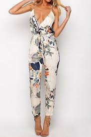 womens rompers and jumpsuits stylish spaghetti floral print backless jumpsuit for