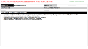 Resume Job Template by Abattoir Supervisor Job Title Docs
