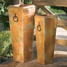 planting pots for sale shop h potter 13 in x 35 in rustic copper metal planter at lowes com