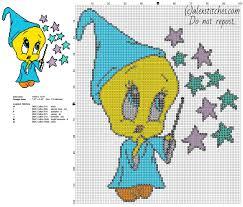 baby looney tunes tweety bird magician free cross stitch pattern
