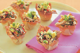 canape cups recipes basil chicken and avocado wonton cups