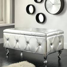 storage bedroom bench crystal tufted faux leather storage bedroom