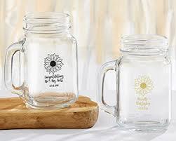 sunflower wedding favors personalized sunflower 16 oz jar mug my wedding favors