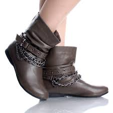 motorcycle ankle boots sale 16 brown flat ankle boots steam punk rock cowboy fashion womens