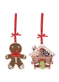 tipperary crystal set of 2 ornaments gingerbread man u0026 house