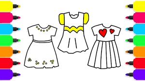 how to draw dresses clothes for girls coloring pages for kids