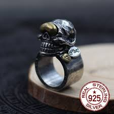 sted rings 925 sterling silver men s rings skull brass ring individual trend