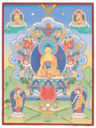 this painting is showing buddhas of three times mahakachyapa buddha of the past shakyamuni buddha of the present and maitreya buddha of the future
