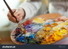 artist brush mix color oil painting stock photo 132622637