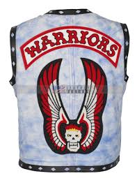 leather biker vest the warriors movie blue waxed leather vest halloween costume