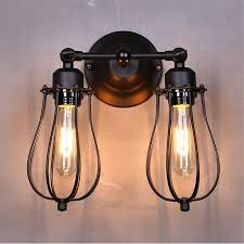 Vintage Industrial Wall Sconce Black Metal Mini Wire Cage 2 Lights Wall Sconce Shade Loft