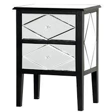 single drawer mirrored side table with storage base mirrored